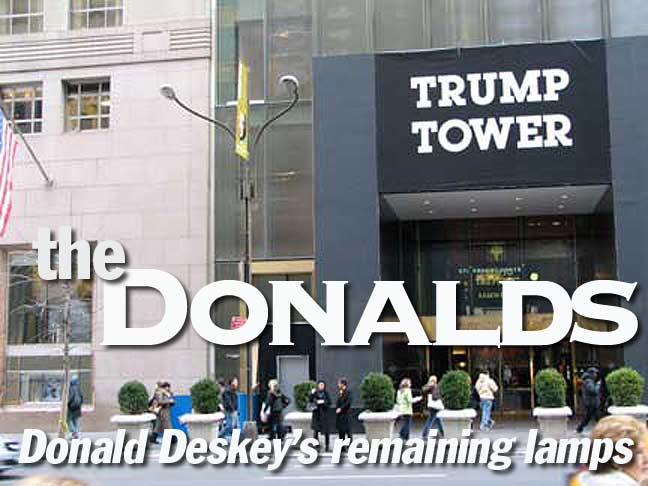 The Donalds: Remaining Fifth Avenue Double Deskey lamps.