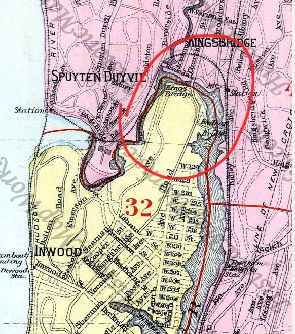 1885 SPUVTEN DUVIL UPPER MANHATTAN MARBLE HILL BAKER FIELD BRONX NY ATLAS MAP